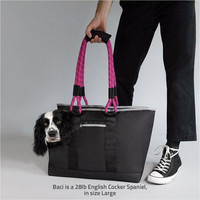 Commuter Dog Tote, Black and Magenta