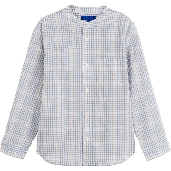 Finn Collarless Button-Down, Light Blue Check