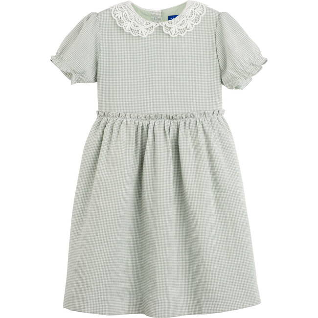 Pearl Lace Collar Dress, Sage Gingham