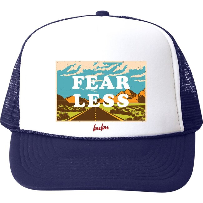 Fear Less Hat, Blue and White - Hats - 1