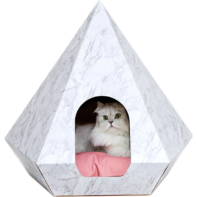 Cat Diamond, Marble With Pink Cushion