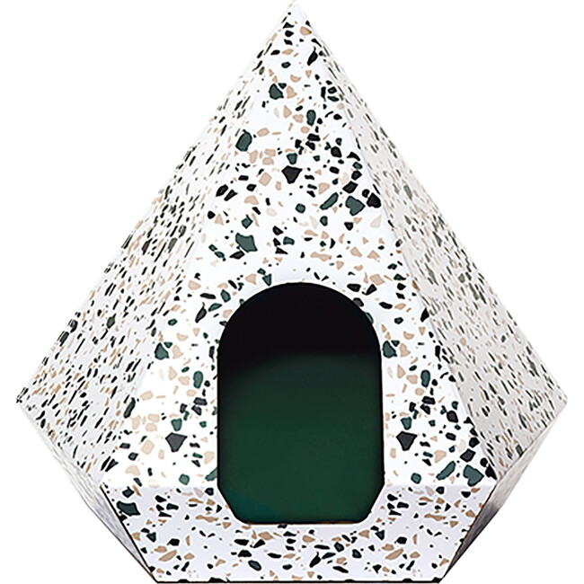 Cat Diamond, Terrazzo White With Green Cushion