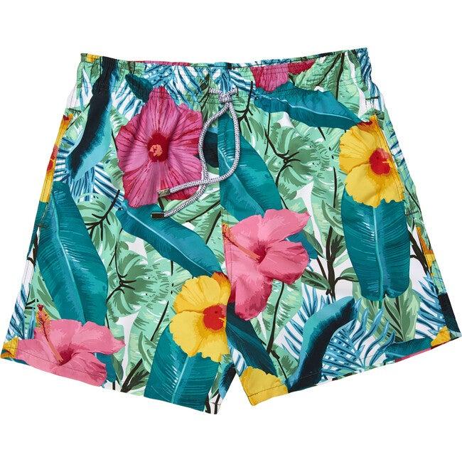 Tropi Leaf Men's Swim Trunks, Long