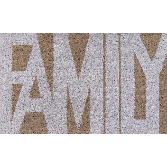 Aloha Family Handwoven Coir Floormat, Grey