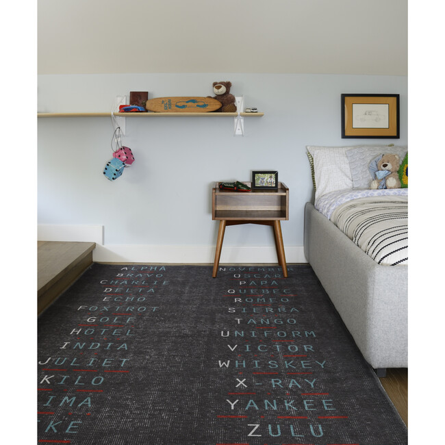 District Military Alphabet Rug, Charcoal