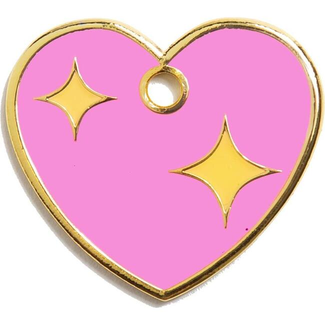 Pink Heart Tag, Pink and Gold