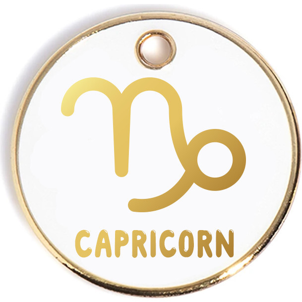Zodiac Tag, White and Gold