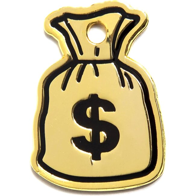 Money Bag Tag, Gold and Black