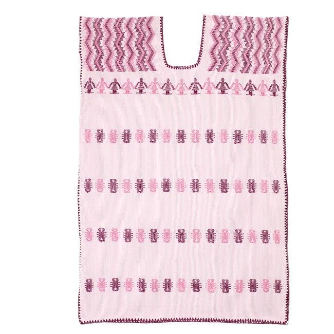Kid's Kaftan, White & Light Pink