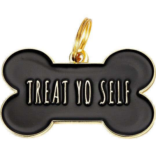 Treat Yo Self Pet ID Tag, Black
