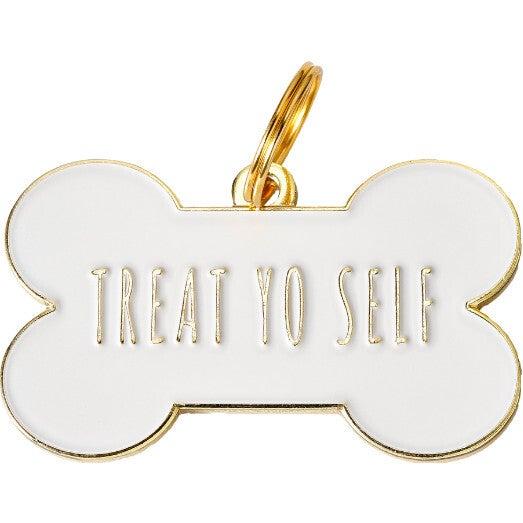 Treat Yo Self Pet ID Tag, White