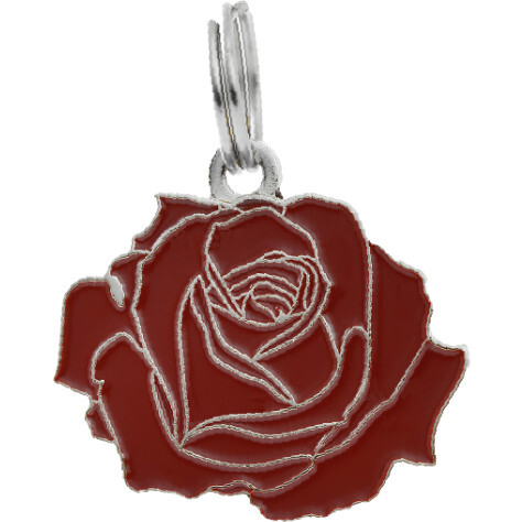 Rose Pet ID Tag, Red and Silver