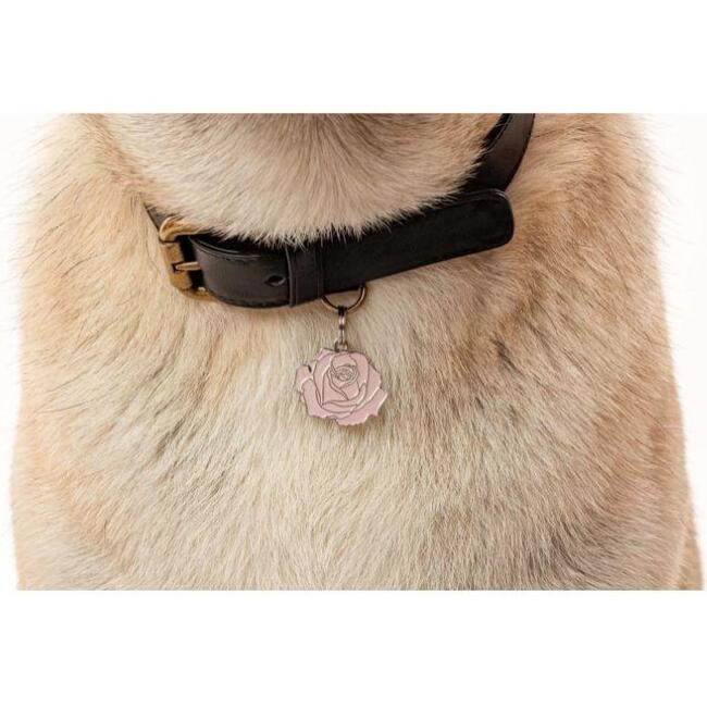 Rose Pet ID Tag, Red and Gold