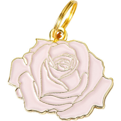 Rose Pet ID Tag, Pink and Gold