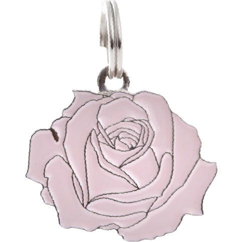 Rose Pet ID Tag,  Pink and Silver