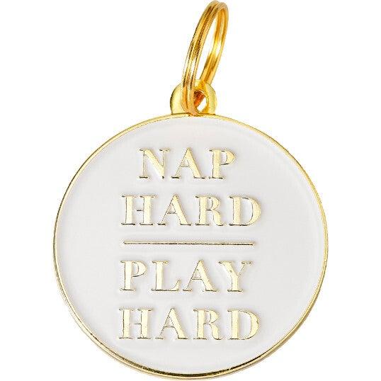 Nap Hard Play Hard Pet ID Tag