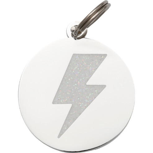 Lightning Bolt Pet ID Tag, Silver and White