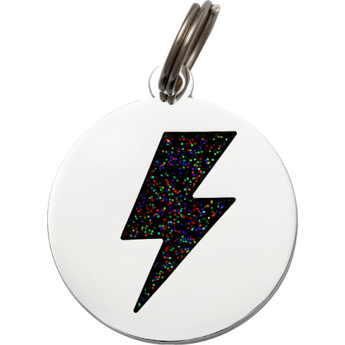 Lightning Bolt Pet ID Tag, Silver and Black