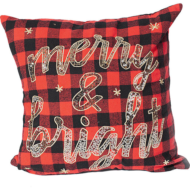 Merry and Bright Buffalo Plaid Pillow Cover - Decorative Pillows - 1