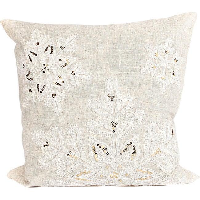 Linen Snowflake Pillow Cover