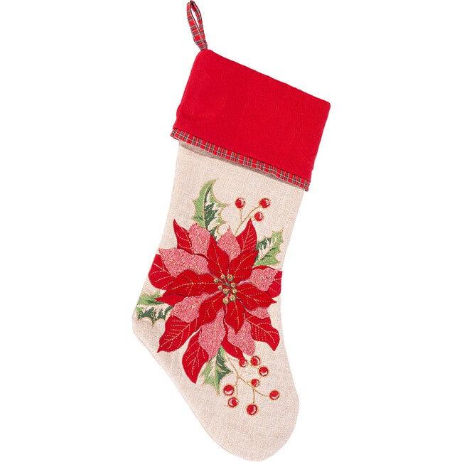 Red Poinsettia Christmas Stocking