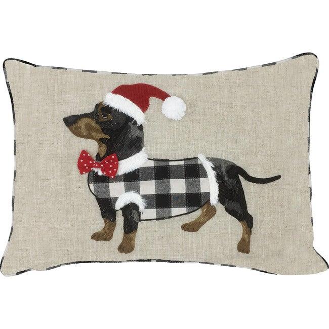 Black and White Buffalo Check Dog Christmas Pillow Cover