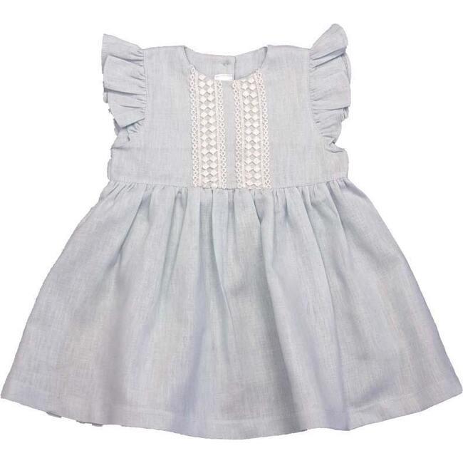 Linen Ruffle Dress, Blue