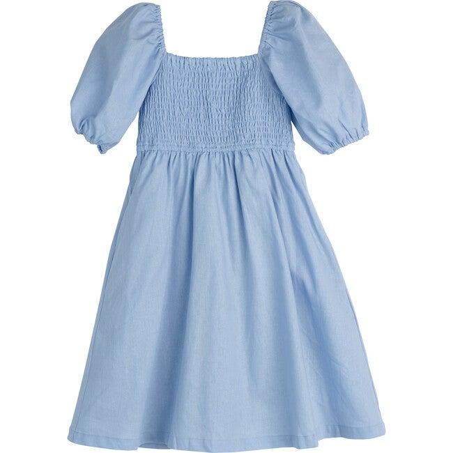 Celeste Smocked Dress, Dusty Blue