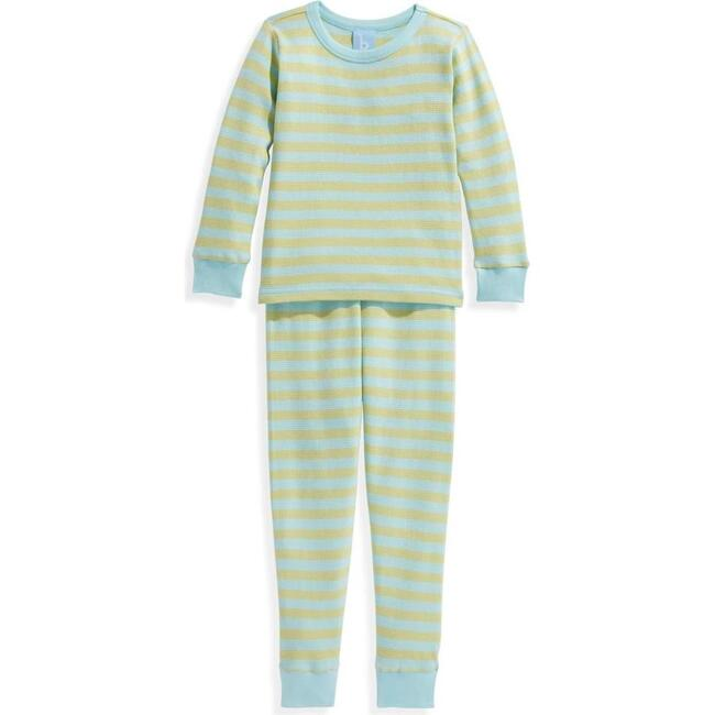 Striped Waffle Jammies, Turquoise and Green