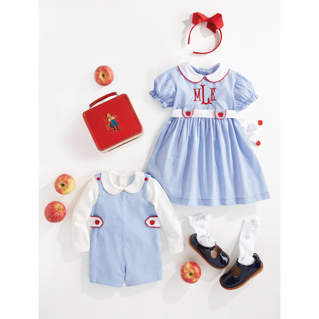 Embroidered Apple Dress, Blue Chambray