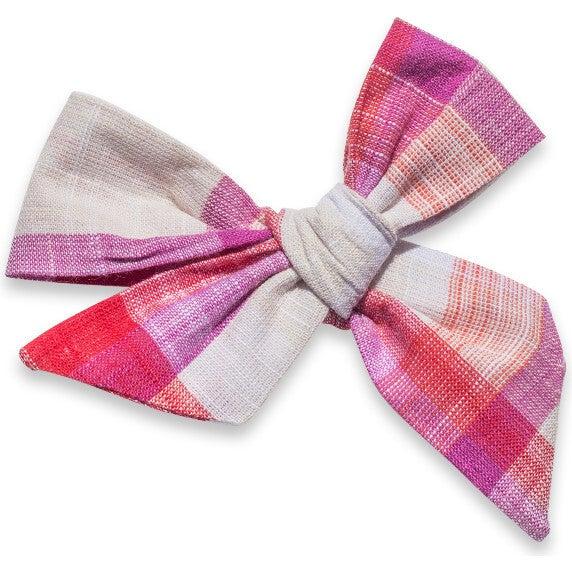 Hair Bow Headband, Purple Check