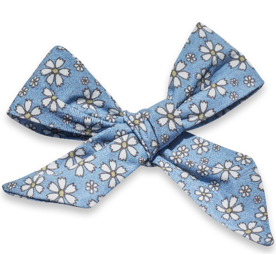 Hair Bow Clip, Daisy Blue