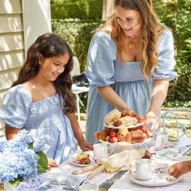 Celine Women's Smocked Dress, Dusty Blue
