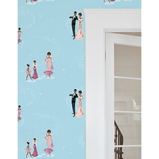 Barbie Starlight Christie Traditional Wallpaper, Baby Blue