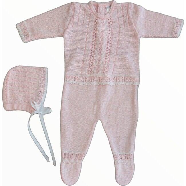 Knitted 3-Piece Set, Pink - Mixed Apparel Set - 1