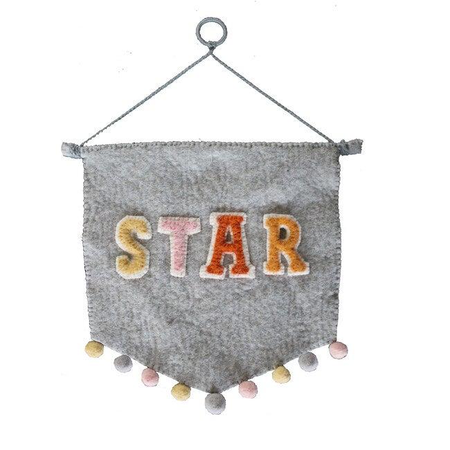 Star Wall Pennant, Grey Multi