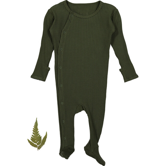 The Ribbed Snap Romper, Moss