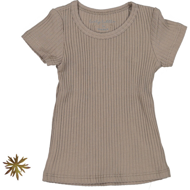 The Ribbed Short Sleeve Tee, Taupe
