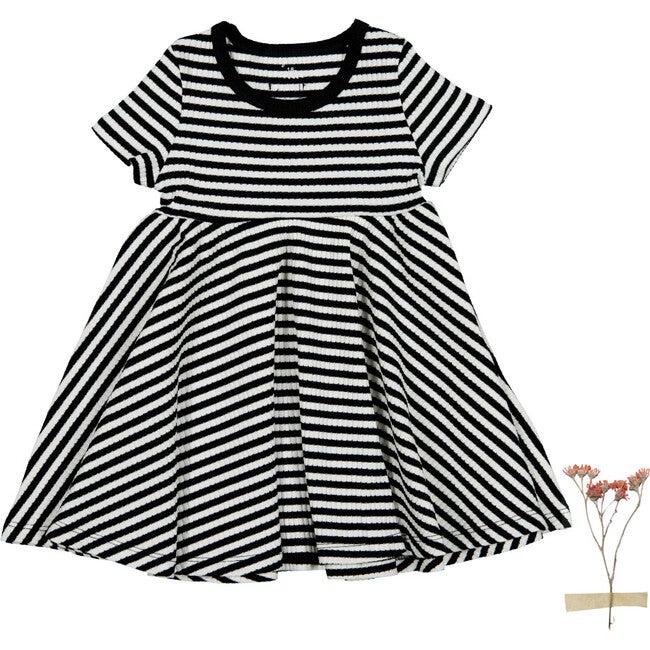 The Ribbed Short Sleeve Dress, Stripe