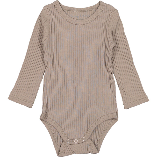 The Ribbed Long Sleeve Onesie, Taupe