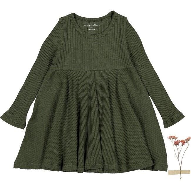 The Ribbed Long Sleeve Dress, Moss