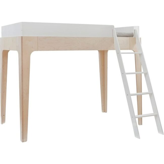 Perch Full Size Loft Bed, White/ Birch