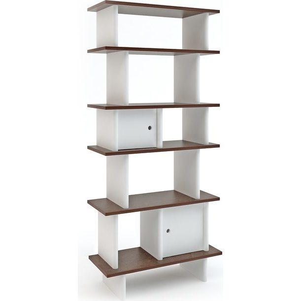 Vertical Mini Library, White/Walnut