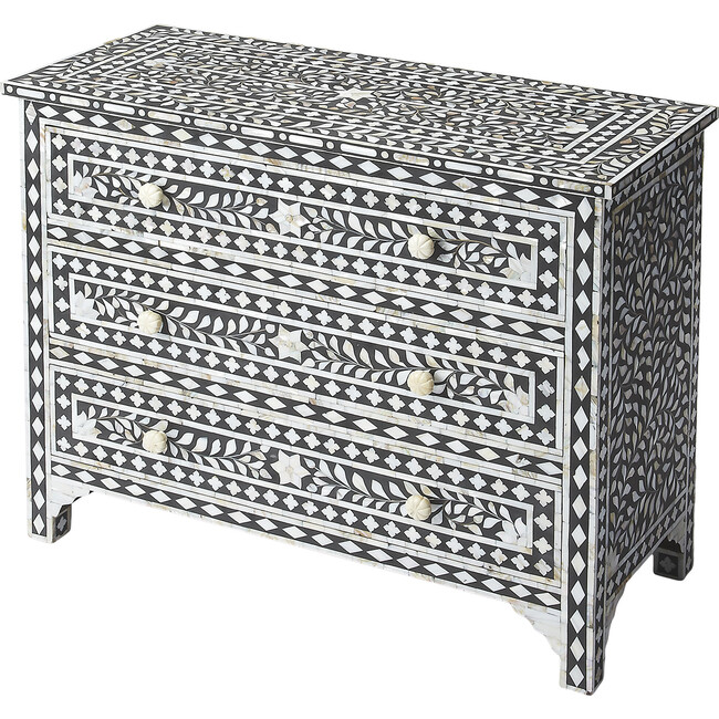 Victoria Mother Of Pearl Drawer Chest, Black