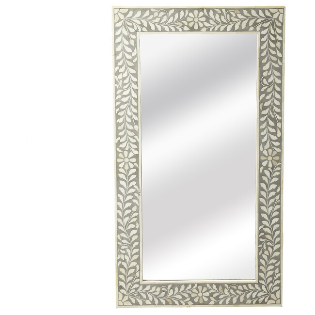 Vivienne Bone Inlay Wall Mirror, Grey