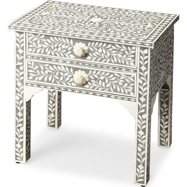 Vivienne Bone Inlay Side Table, Grey
