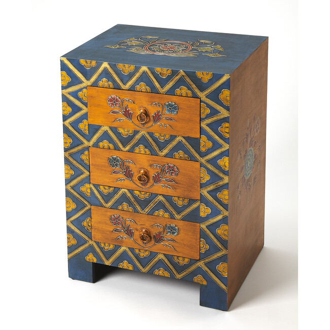 Dharma Hand-Painted Accent Table, Bright Multi
