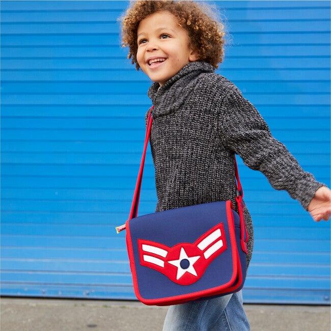 Vintage Flyer Crossbody Messenger Bag, Blue and Red