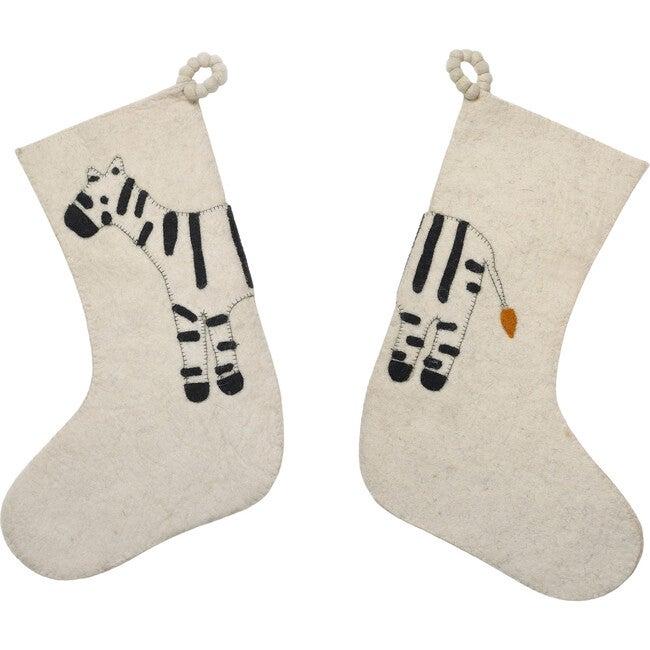 Double-Sided Zebra Stocking, Black/Cream