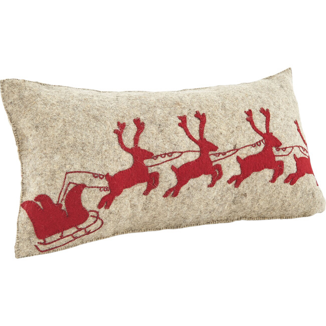 Reindeer Pillow Cover, Red/Grey